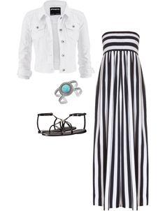 Eleven Ways to Style a Denim Jacket - white denim jacket and black and white maxi dress