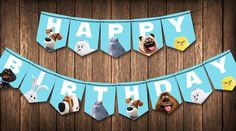 Secret Life of Pets: Happy Birthday Banner Instant Digital First Birthday Party Themes, Happy Birthday Banners, Boy Birthday Parties, 2nd Birthday, Birthday Ideas, Pet Max, Secret Life Of Pets, Animal Birthday, Animal Party