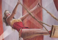 Burlesque Circus Trapeze Artist Luxury Art Birthday Card by Robert Antell
