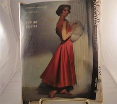 Vtg 1957 McCalls #4257 Pauline Trigere Special Occasion Dress Pattern 16 Bust 36 sold for 71+2.91 on 8/10/13