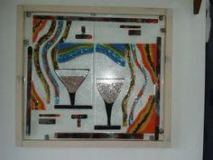 Cuadro en Vitrofusión , con restos de vidrio de trabajos anteriores (Copas)