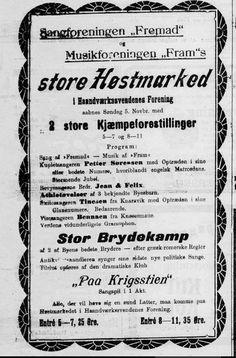 Program for et høstmarked i 1905 (BT):