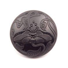 22mm Czech Bohemian Art Deco 1920's black glass flower button 4113-175