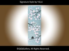 """Landscape Handmade Abstract Painting Original Heavy Texture Palette Knife Tree Flowers Love Birds """"Spring Romance""""  by QIQIGALLERY. $185.00, via Etsy."""