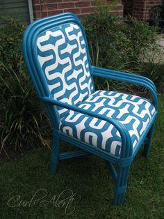 Reupholstery Tutorial: Updated Blue Wicker Chair via Curb Alert! http:tamicurbalert.blogspot.com