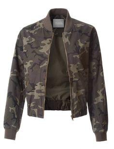 9c0f85c97dc LE3NO Womens Varsity Cotton Camo Print Zip Up Bomber Jacket with Pockets  Camo Bomber Jacket,