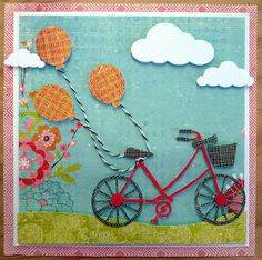 Memory Box dies- Brand New Bicycle 98404, Marshmallow Clouds 98344 from Cookie's Corner blog