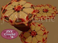 """Jogo de banheiro de crochê """"Flor de Cerejeira"""" por JNY Crochê -  /  Game crochet bathroom """"Cherry Blossom"""" by JNY Crochet -"""