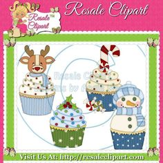 Christmas Cupcakes Clipart Digital Download by MaddieZee on Etsy, $1.50