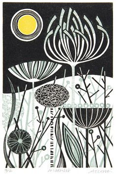 Angie Lewin is a lino print artist, wood engraver, screen printer and painter depicting the UK's natural flora in linocut and other limited edition prints. Sgraffito, Zentangle, Linocut Prints, Art Prints, Block Prints, Angie Lewin, Illustrator, Linoprint, Art Japonais