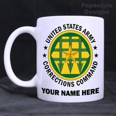 US Army Corrections Command Personal 11oz Coffee Mugs Made in USA. #Handmade