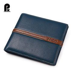 2016 Pacento 남성 지갑 고급 가죽 정품 브랜드 유명한 디자인 스트라이프 블루 짧은 남성 돈 지갑 카드 클립 포트폴리오 남자