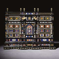 An Italian gilt-bronze-pietre dure-and marble-mounted ebony and ebonised cabinet, Roman, <P>mid 17th century</P> | lot | Sotheby's