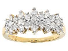 1.00ctw Round White Diamond 10k Yellow Gold Cluster Ring