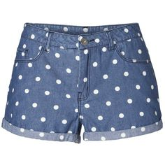 Vero Moda Brix Lw Dotti Denim Mini Shorts (11.545 CLP) ❤ liked on Polyvore featuring shorts, bottoms, denim, micro denim shorts, low rise denim shorts, polka dot shorts, hot denim shorts and fold over shorts