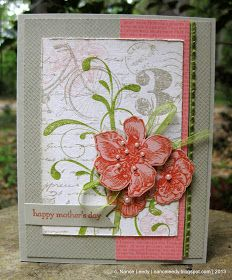 Stampin' Up! Everything Eleanor, Postage Due, Netting (background stamp). SU! Colors: Sahara Sand, Lucky Limeade, Blush Blossom, Calypso Coral. Very pretty Moyher's Day card.