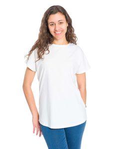 bleed T-shirt Kapok Damen Weiß Loose Fit, Lady, Outfit, Tunic Tops, V Neck, Shopping, Clothes, Koroni, Women