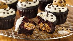 Kids are going to love the surprise cookie dough center in these chocolate cupcakes.