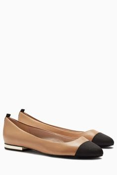 Buy Nude Forever Comfort Leather Toe Cap Ballerinas from the Next UK online shop