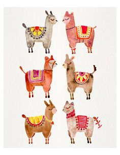 Alpakas von CatCoq auf Etsy illustration Alpacas – Watercolor Painting Print by CatCoq. Museum-quality posters made on thick, Archival, matte paper. Watercolor Flower, Watercolor Print, Watercolor Paintings, Whale Painting, Painting Prints, Art Prints, Alpacas, Cat Wallpaper, Pattern Wallpaper