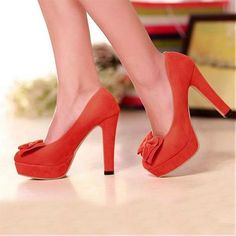 Womens Shoes, Wedges Shoes, Elegant Suede Peep Toe Red Wedges
