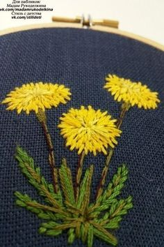 Crewel Embroidery Hand embroidered dandelion Floral embroidery Embroidered by KasiaJ - Paper Embroidery, Learn Embroidery, Hand Embroidery Stitches, Silk Ribbon Embroidery, Crewel Embroidery, Hand Embroidery Designs, Embroidery Techniques, Cross Stitch Embroidery, Embroidery Scissors