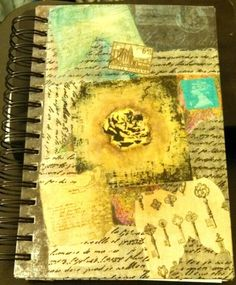Originally a red plan ahead journal from walmart. Recovered with scrapbook background pages and many little finding printed from the net. Also covered carefully with scotch book tape for laminated feel it awesome cause its a permanent hold and acid free. Front cover.