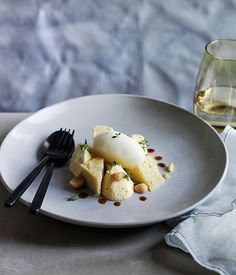 Corbezzolo honey mousse with pepperberry sponge and beer sorbet recipe, Giovanni Pilu, Pilu at Freshwater :: Gourmet Traveller