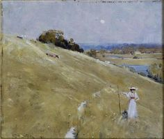 Arthur Streeton, 'The hillside' - oil on wood panel x State Art Collection Art Gallery of Western Australia Warm And Cool Colors, International Artist, Australian Artists, Us Images, Western Australia, State Art, Artist Painting, Art Gallery, Sir Arthur