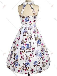 Vintage Halter Floral Fit and Flare Dress For Women - WHITE S Mobile