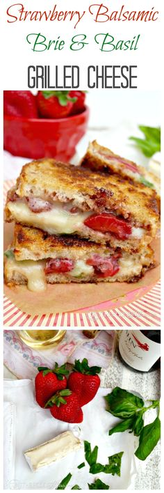 This sandwich is a flavorful combination of sweet strawberries roasted in balsamic vinegar with melted creamy brie cheese, and a punch of pungent and peppery tasting basil leaves ♥ | © The Foodie Affair