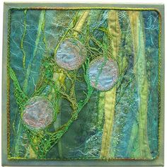 trapped-in-weed | Flickr - Photo Sharing! 12x12 layered cotton fabric and silk organza with machine embroidery and beading - Helen Suzanne