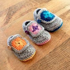 Granny Square Crochet Bootie