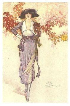 Terzi Italian art deco lady  & pekingese with foliage