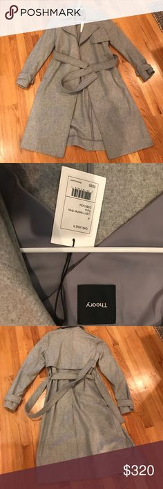 Theory grey Roita Wool/Cashmere Trench Size P Theory grey Roita Wool/Cashmere Trench Size P. Purchased at Bloomingdale's and never worn. New with tags. I have a little bit of a coat addiction and I'm trying to minimize my winter wardrobe! Theory Jackets & Coats Trench Coats