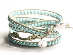 Leather wrap bracelet, turquoise beads, Back in stock, personalized tag, sterling silver button