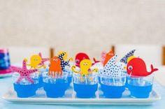 Gelatinas para festa com tema fundo do mar! Spongebob Birthday Party, Baby Birthday, Birthday Parties, Troll Party, Little Mermaid Parties, Shark Party, Under The Sea Party, Party Decoration, Tropical Party