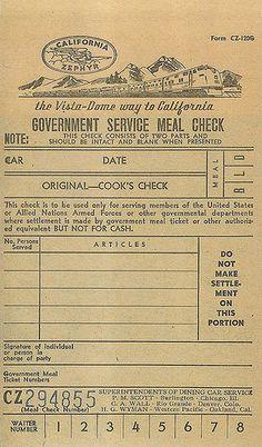 California Zephyr meal ticket by Vintage Roadside, via Flickr