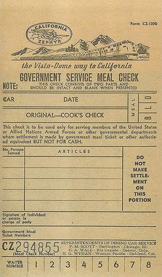 California Zephyr meal ticket by Vintage Roadside, via Flickr