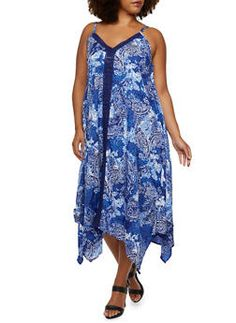 Plus Size Ornate Print Dress with Sharkbite Hem - 3390056129204