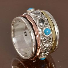 925 STERLING SILVER NEW STYLISH Turquoise SPINNER RING 8.80g DJR10001 SZ-5.5…