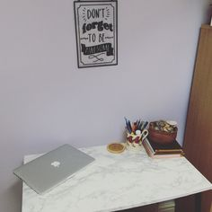 My new desk set up! #diy faux marble desk tutorial is on my channel