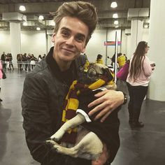 joe sugg with a pug #thatcherjoe #joesugg #perfection