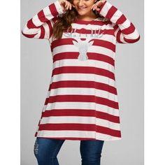 913e479b188c6 Plus Size Christmas Elk Striped Longline T-shirt