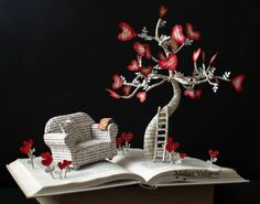 "Malena Valcárcel original Art: ""Go Back To That Magic Time"" Book Sculpture Folded Book Art, Book Folding, Altered Books, Altered Art, Old Book Crafts, Paper Art, Paper Crafts, Cut Paper, Magical Tree"