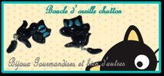 Boucle d' oreille chatton noir