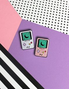 Magical Girl Gameboy Inspired Glitter Hard Enamel Pin - Ready To Ship! Pink or White
