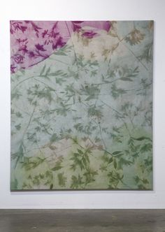 Available for sale from Galerie Eva Presenhuber, Sam Falls, Untitled (Pomona, CA, Lilies 2) (2014), Hand dyed linen, 228.5 × 193 × 2.5 cm
