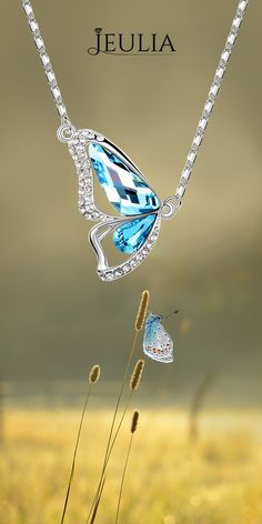 Jeulia Aquamarine Women's Pendant Necklace for butterfly lovers. #Jeulia #necklace #necklaces #jewelry