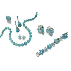 SUITE OF TURQUOISE AND DIAMOND JEWELRY, SEAMAN SCHEPPS, CIRCA 1950